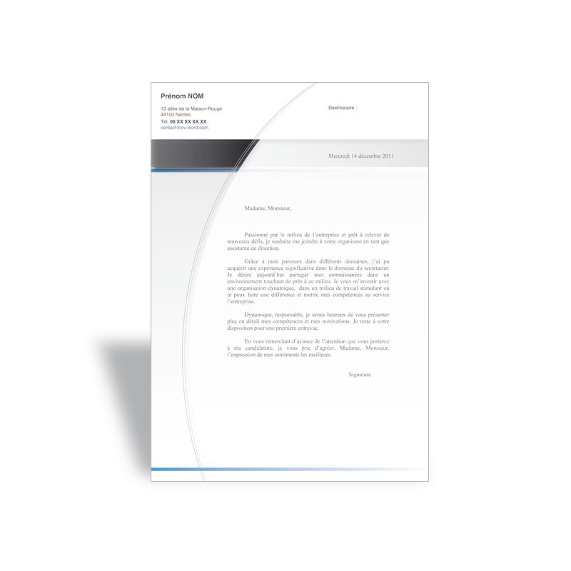 lettre motivation cv design