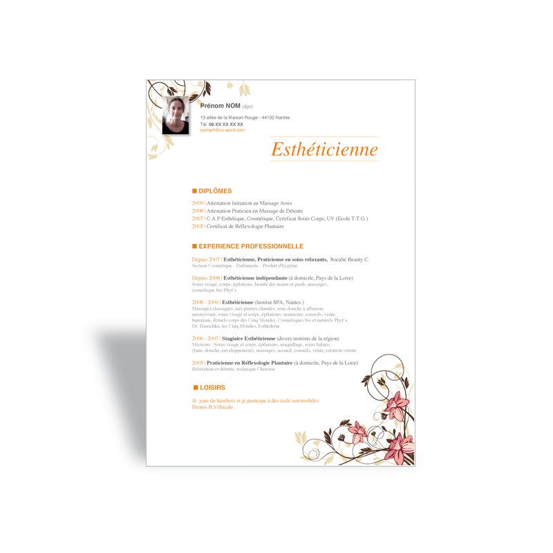 modele cv avec photo word gratuit