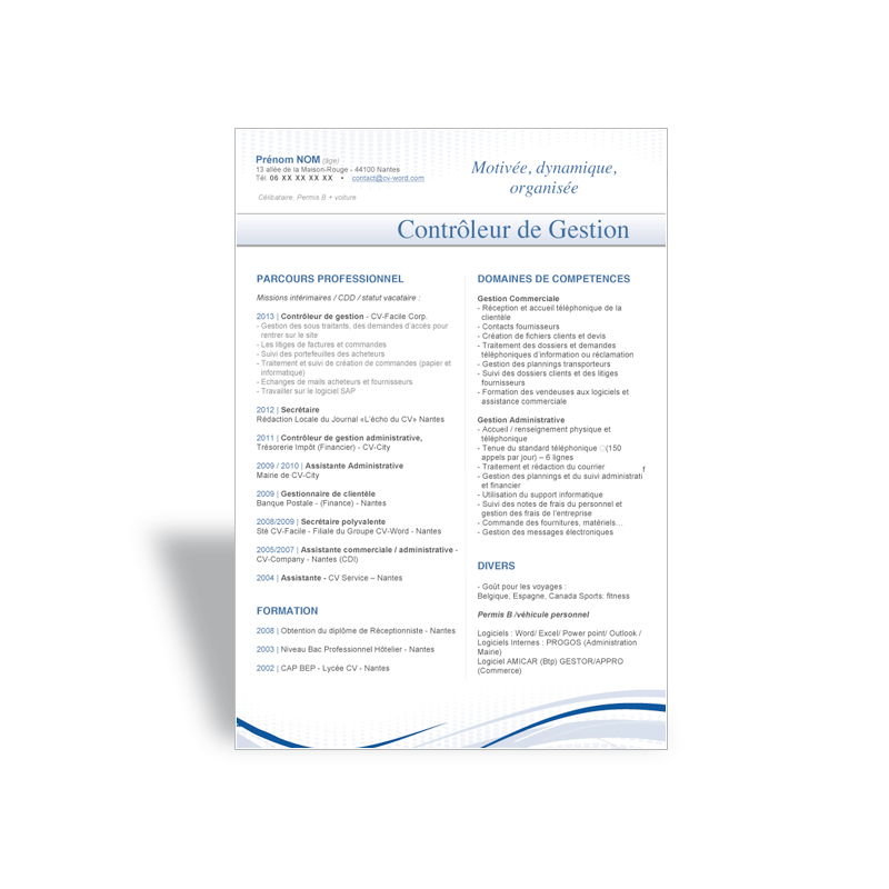 cv word controleur gestion