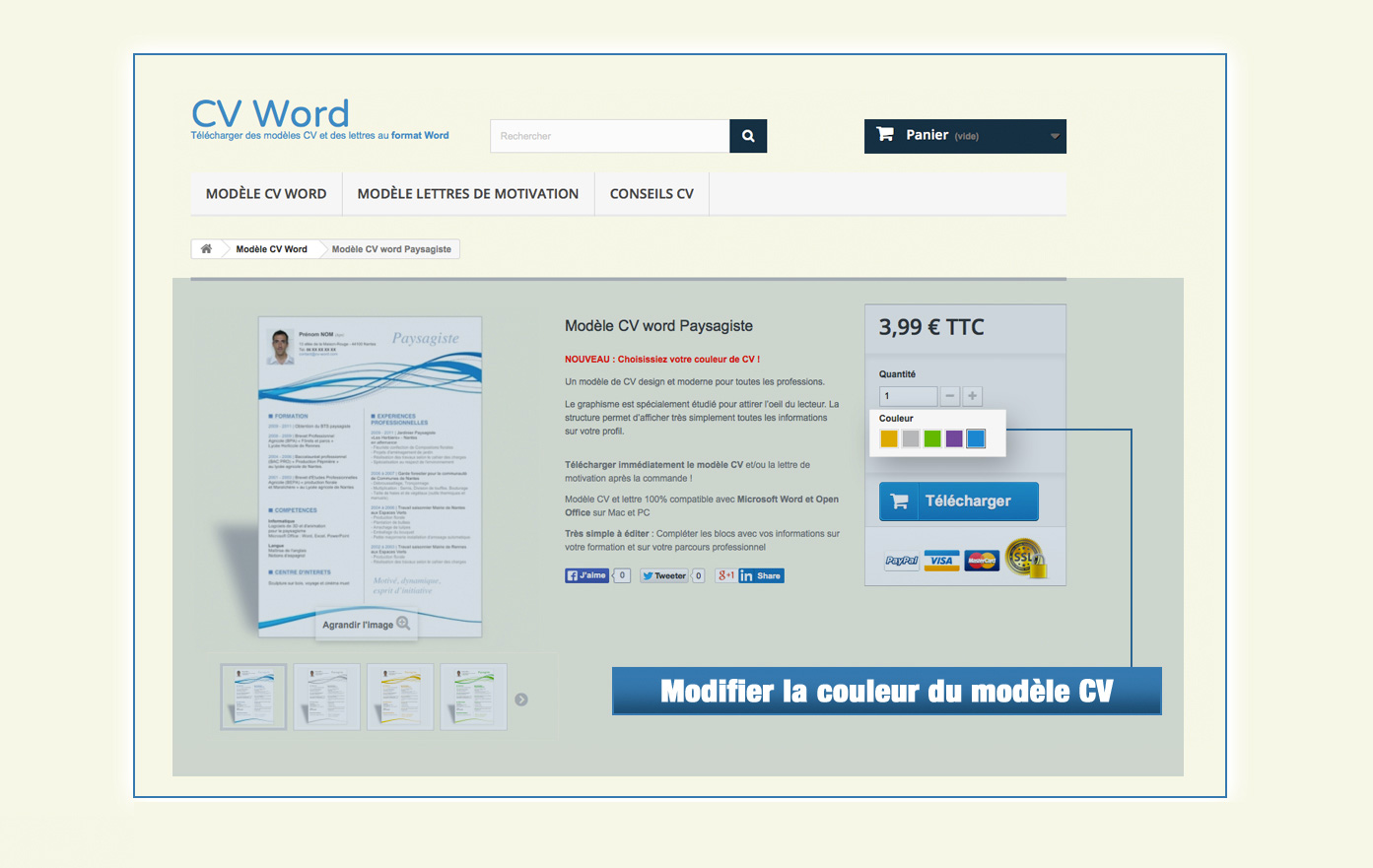 comment chaznger la couleur du cv word