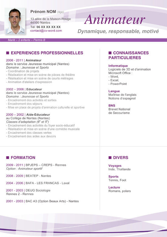 exemple cv wedding planner