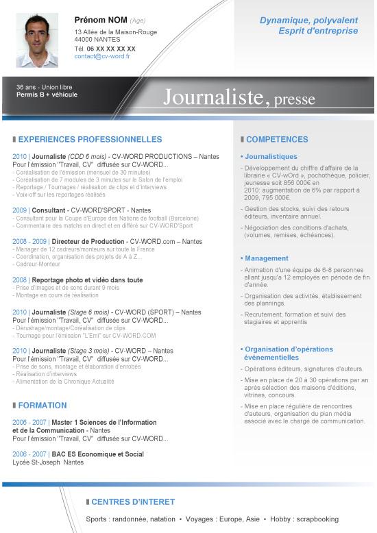 model cv journaliste word