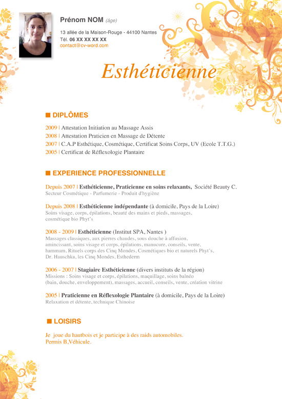 modele cv esthetique word