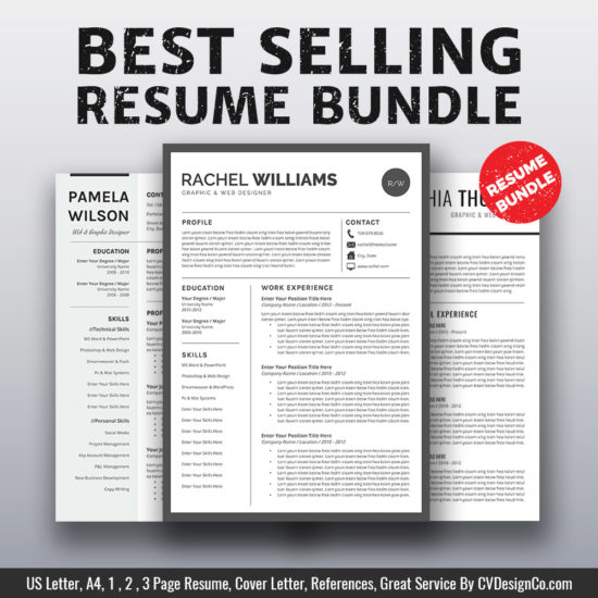 2019 Best Selling MS Office Word Resume / CV Bundle The Sherry