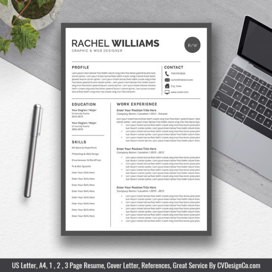 Best Selling Office Word Resume / CV Templates, Cover Letter
