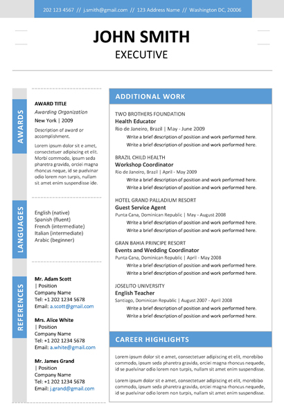 Executive Resume Template + Cover Letter + Portfolio