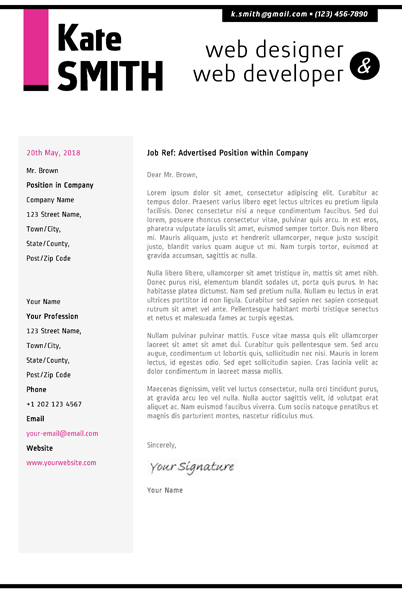 sample portfolio cover letters