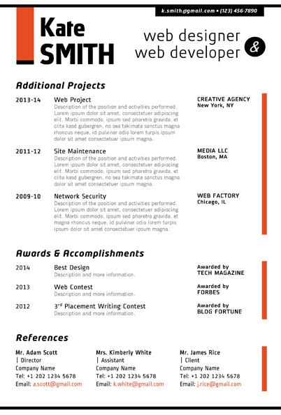 Web Designer Resume Template + Cover Letter + Portfolio