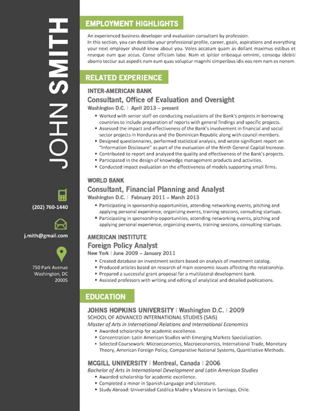 resume in microsoft office template