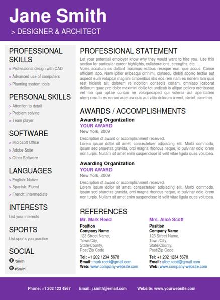 CV Folio - Creative Word Resume Templates