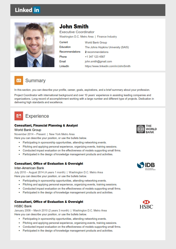 Linkedin Resume Template + Cover Letter + References
