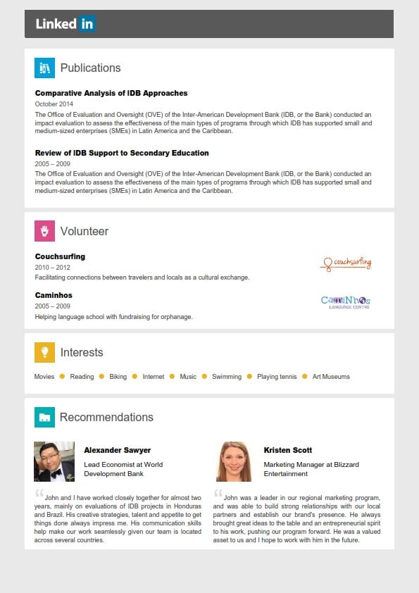 Linkedin Resume Template + Cover Letter + References