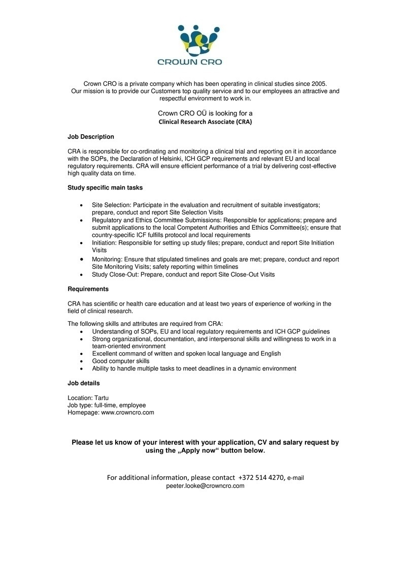 clinical research associate cv english