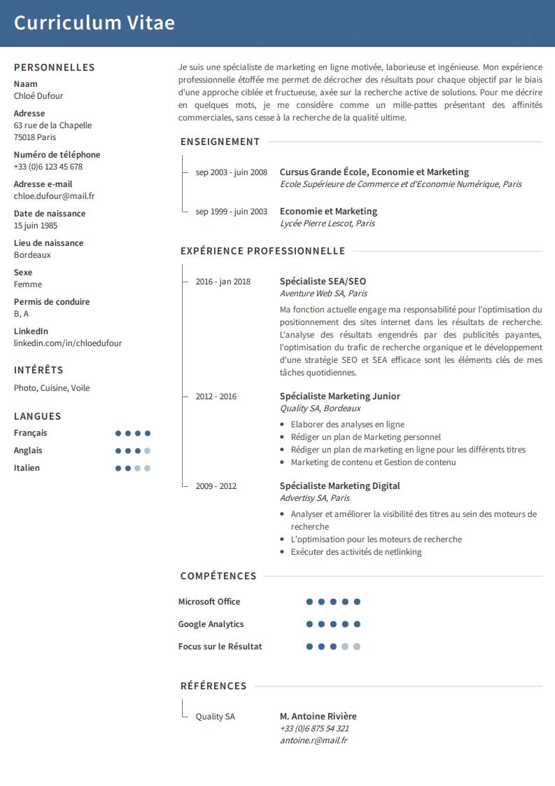competences synonyme cv