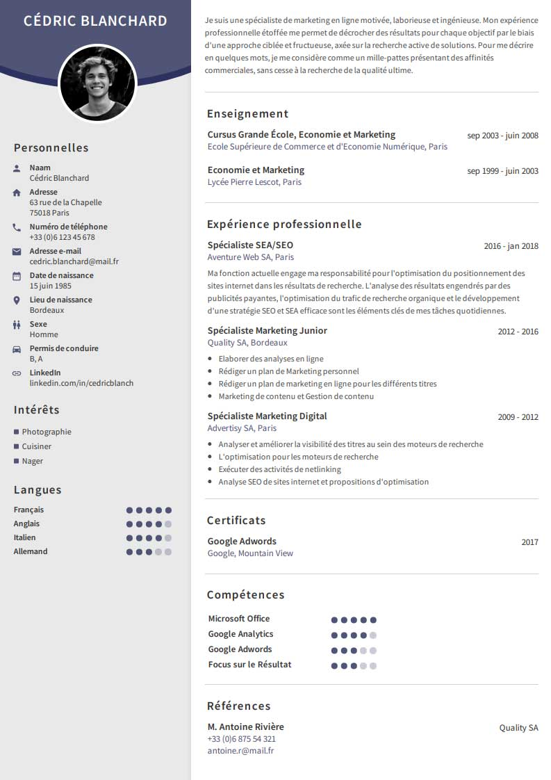 creer un cv simple gratuit