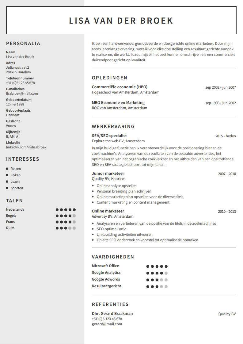 category manager exemple cv