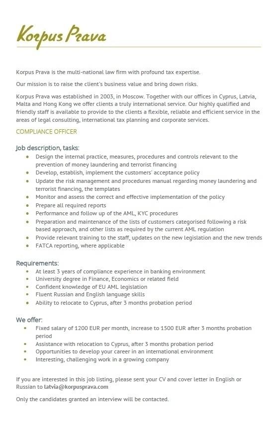 Compliance Officer Cv darba piedāvājumi - darbs - cv market vakance