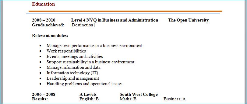 cv statement examples uk internship
