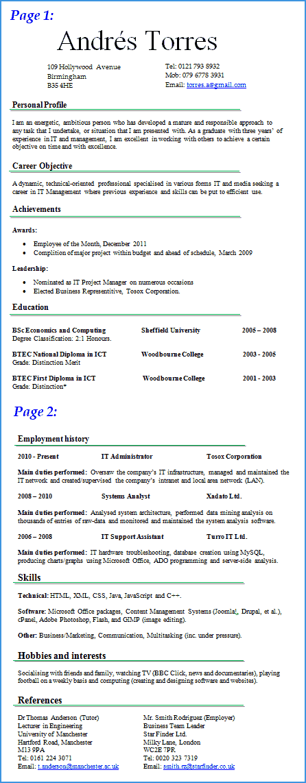 Ict Cv Examples Uk Aperfectcvcouk Cv Writing Service Great Cvs Win Preview Of It Cv