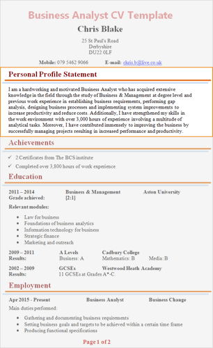 cv description profil