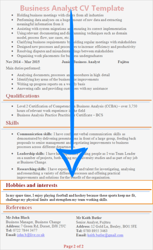 english student cv hobbies
