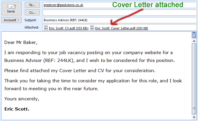 emailing resume cover letter body email