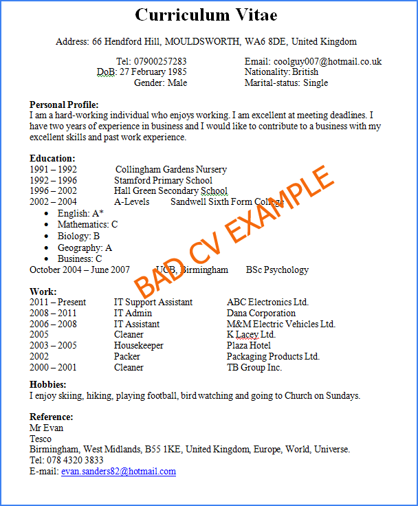 examples of a bad cv uk