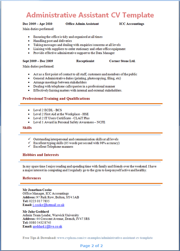 personal statement cv examples administration