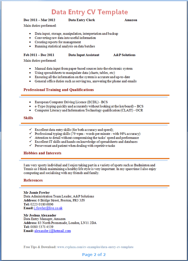 School Leaver Cv Example With Writing Guide And Cv Template Data Entry Cv Template 2