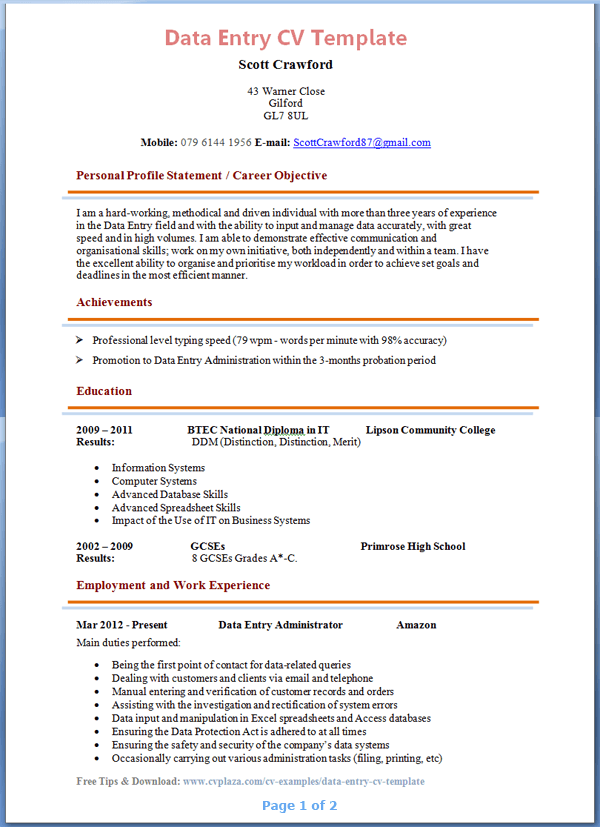 Data Entry Resume Format And Key Points Data Entry Cv Template