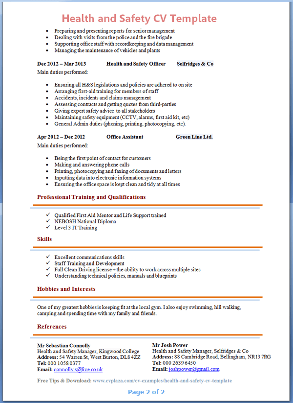 Sample Resumes Sample Resume Writing Example Free Resume Health And Safety Advisor Cv Example 2