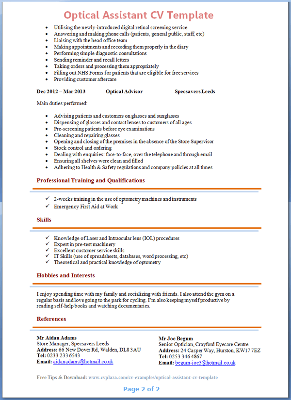 Help writing a professional cv