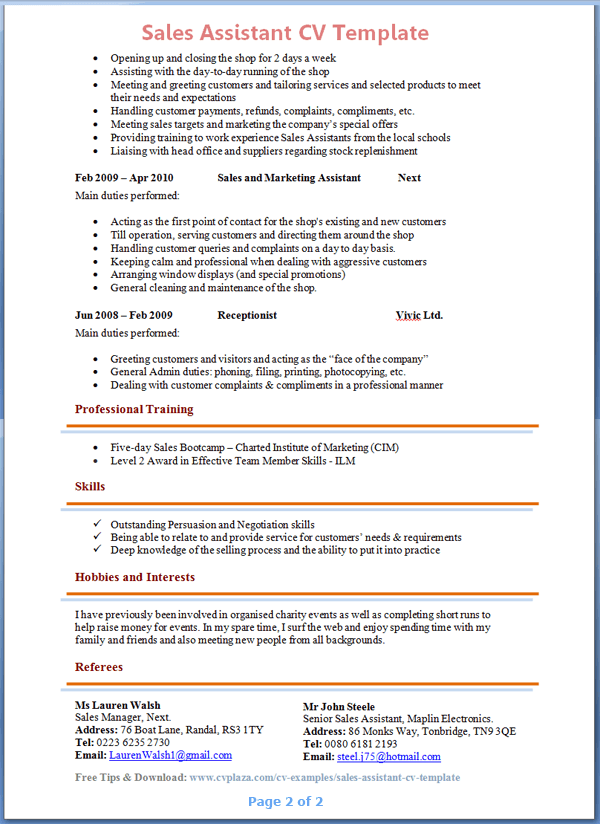 skills and interests cv examples