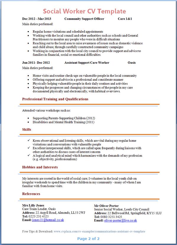 social work assistant cv pdf