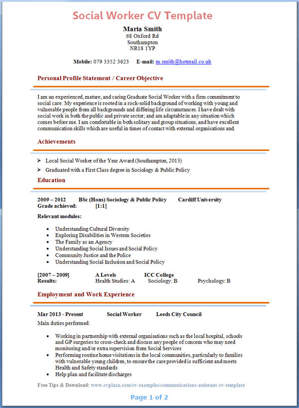social worker cv sample