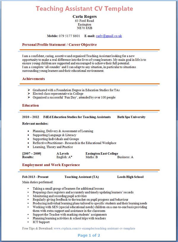 Resume Template For Teachers Assistant | resume builder