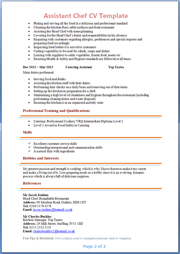 Student Example Cv Aleccouk Cv Writing Service Uk Assistant Chef Cv Template Page 2