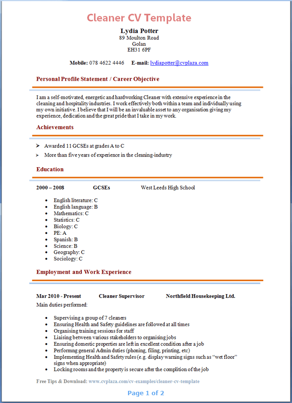 Cleaning Resume Samples Office Cleaner Resume Sample Office Cleaner Job Description Sample For Resume Cleaning Supervisor Resume Template Housekeeper