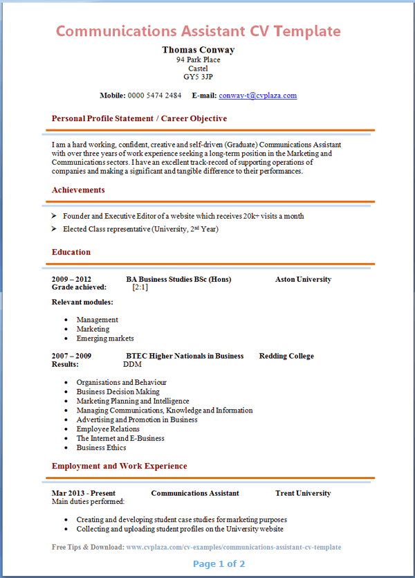 Cv Template For Teaching Assistant | Create professional resumes ...