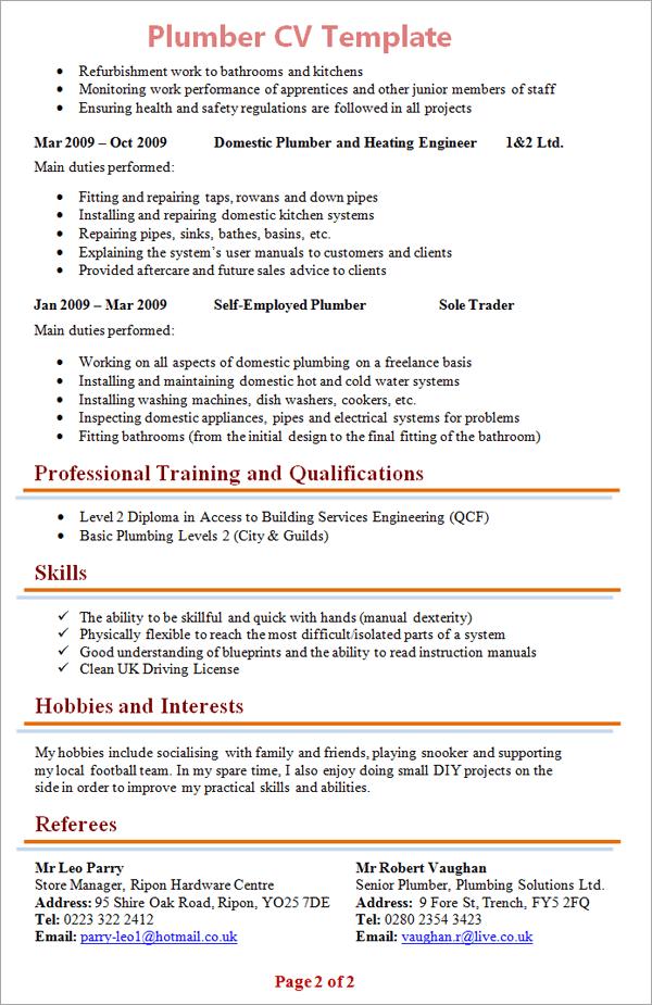 free sample resume pipe fitter plumber