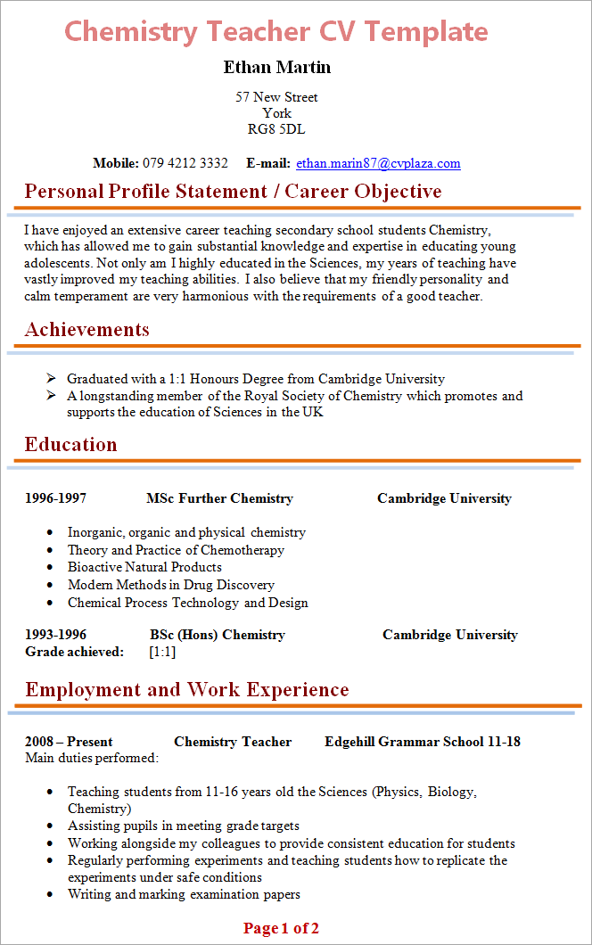 resume sample for chemistry teacher