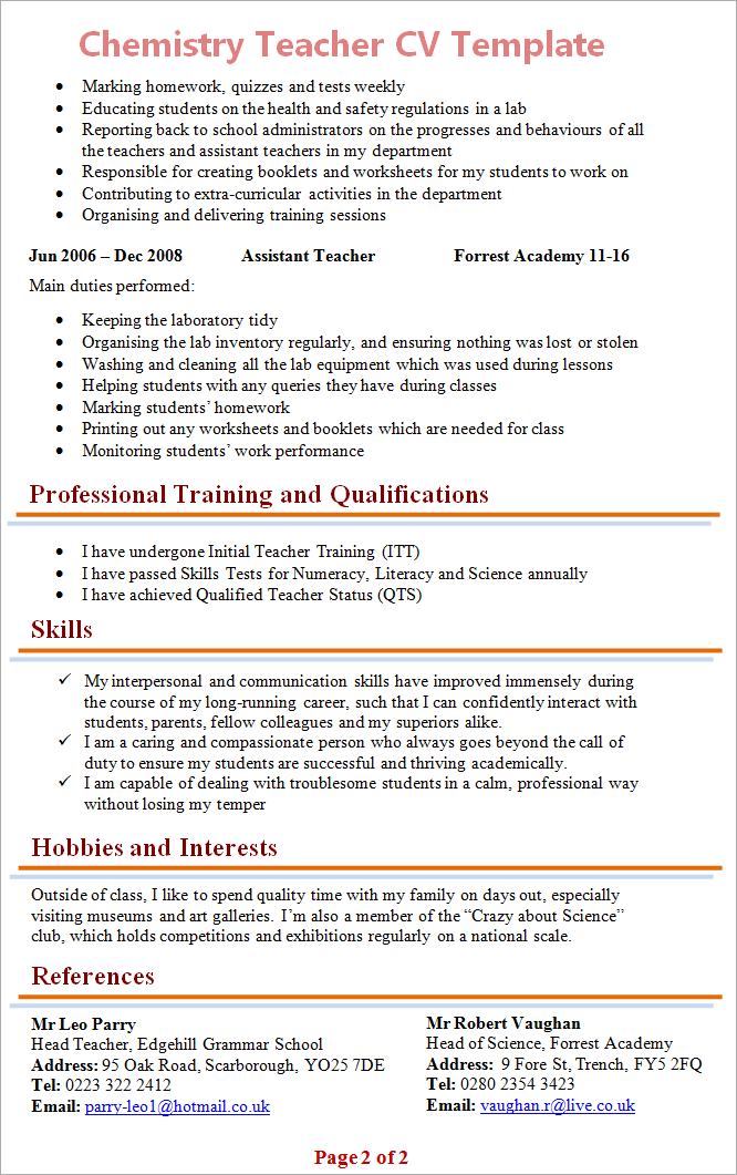resume for chemistry teachers