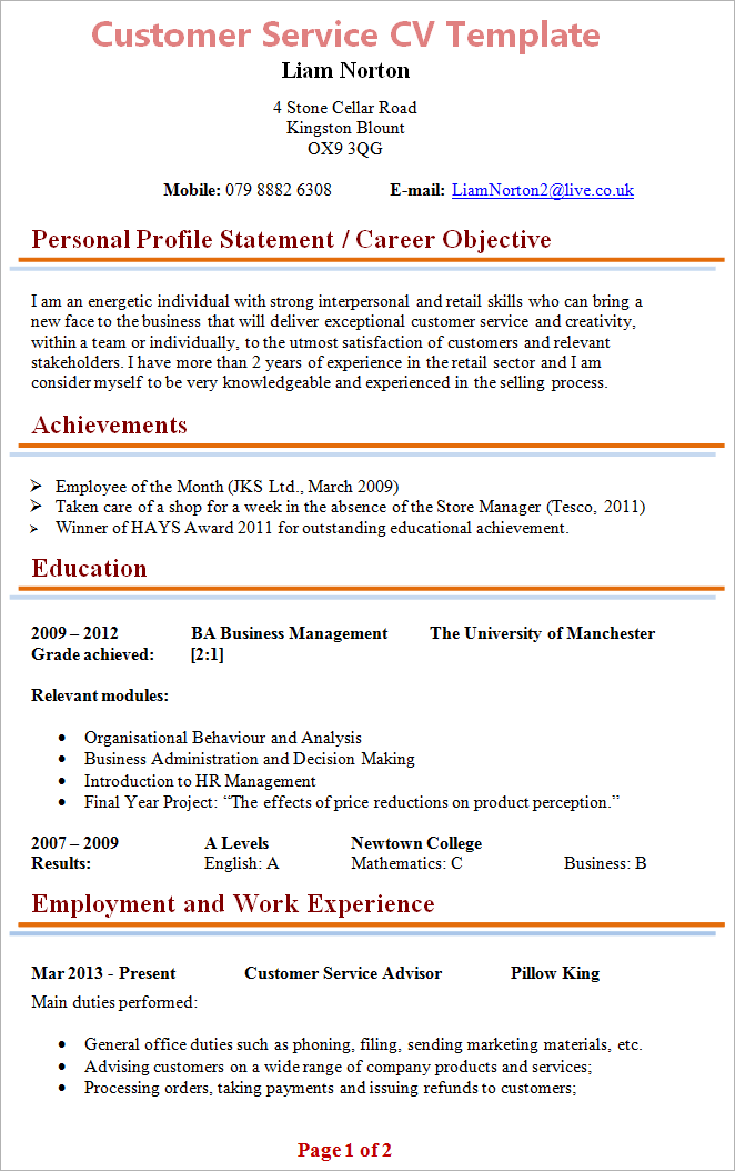 customer service manager cv