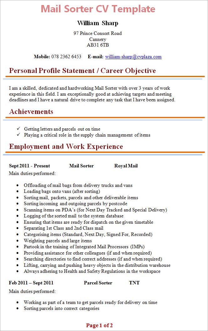 cv format for job