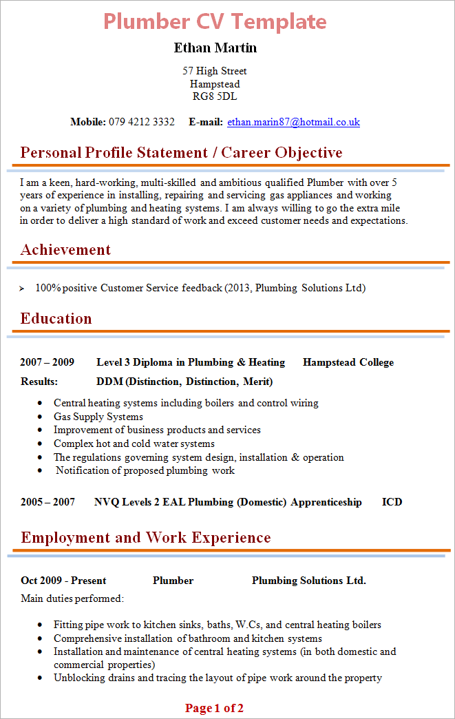 cv sample experience how to write your resume work experience section resume plumber cv template tips