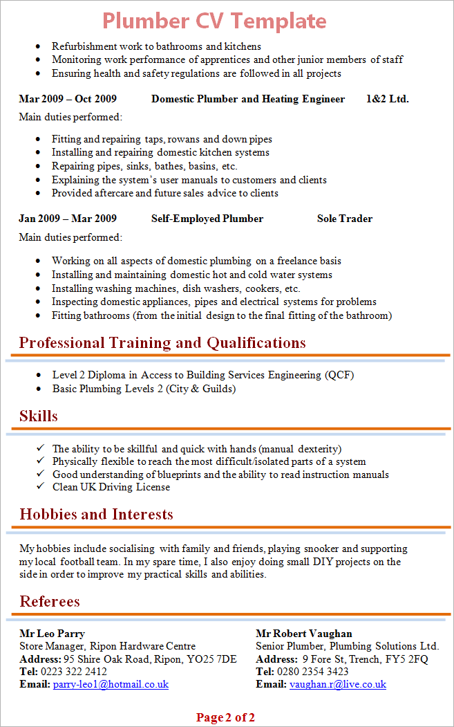 hobbies and interests cv template