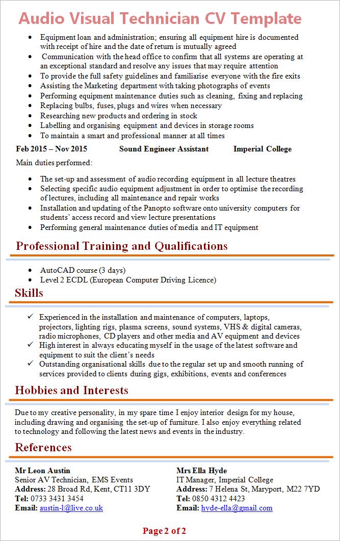 audio visual resume