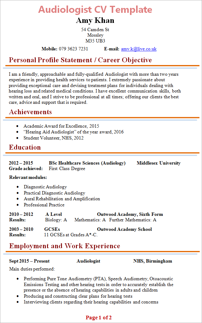 Example Of A Good Cv Standout Cv Cv Writing Service Audiologist Cv Template 1