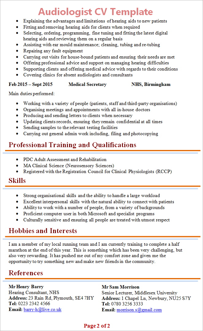 Professional Cv Format In Ms Word Doc Pdf Free Download Audiologist Cv Template 2