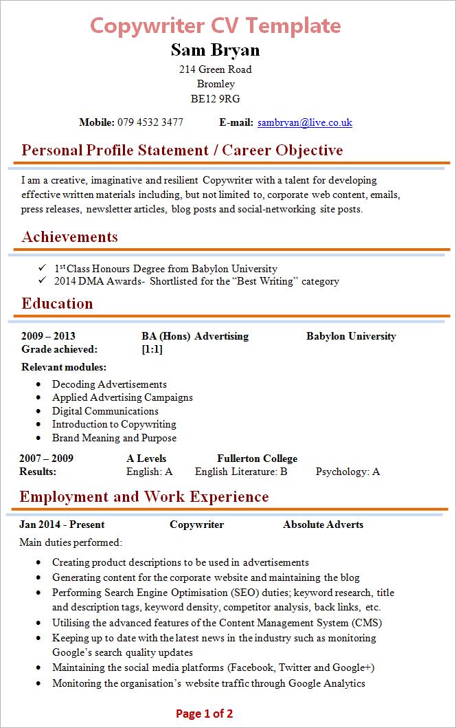 blank cv templates free download